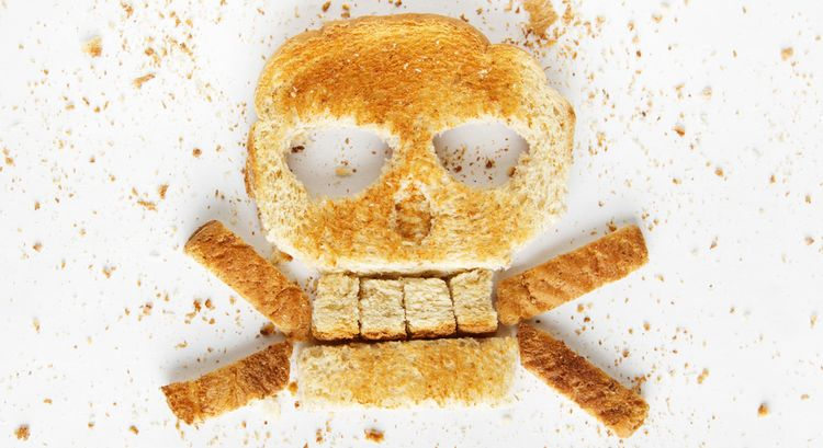 Photo of a skull made from bread slice