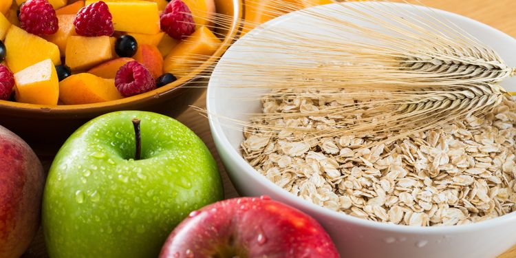 Photo of fibrous foods - apple, oats..