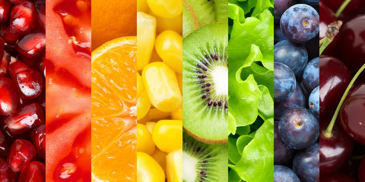 Rainbow Collage of colorful fruits