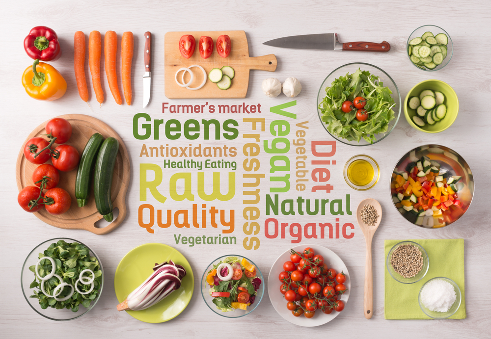 Photo of various raw vegetables sorted in plates on table