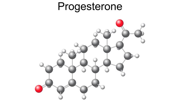 Illustration of a progesterone molecule