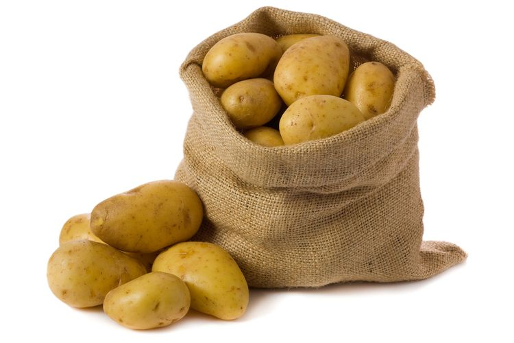 Photo of raw potatoes in a bag
