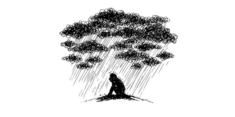Illustration of a depressed person with dark cloud above