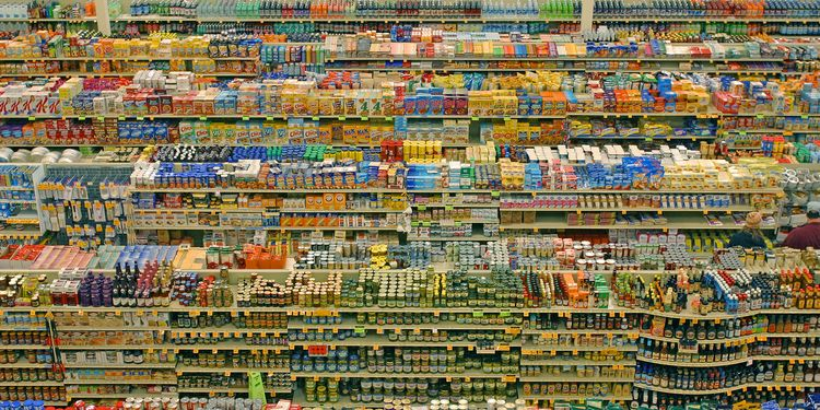 Photo of products on a supermarket shelves