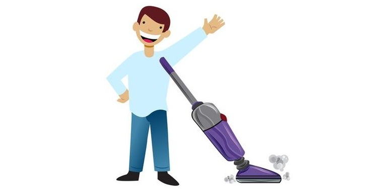 Illustration Of a man doing vacuum cleaning