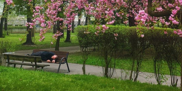 Image of the person having a morning rest
