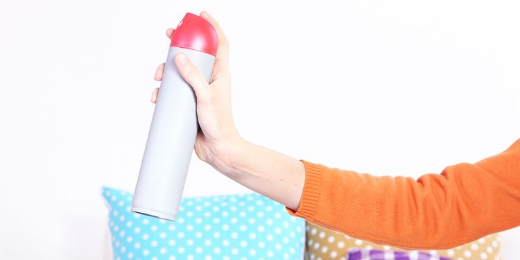 Photo of a woman using air freshener