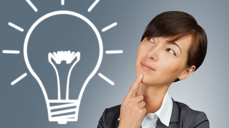 Photo of a woman with illustration of a light bulb above her head