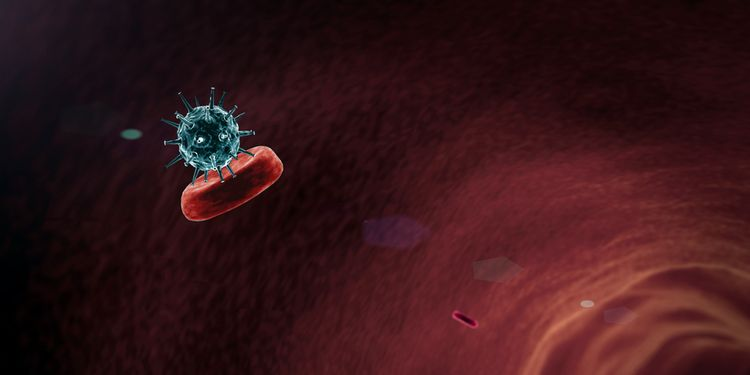 Illustration of a virus particle infecting red blood cell in bloodstream
